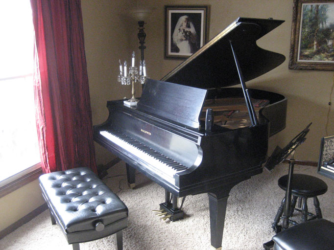 Grand piano in teaching studio