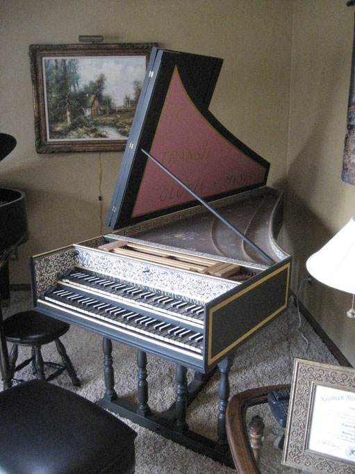 Harpsichord in teaching studio